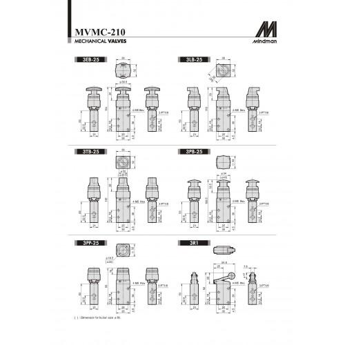 mindman roller lever valve model mvmc 8 npt